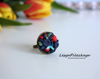 Polymer clay ring with berries/ strawberry/blueberry