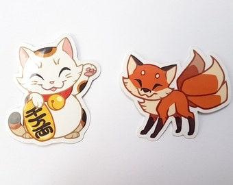 Cute Maneki Neko and Kitsune vinyl stickers