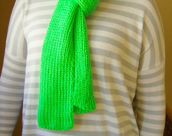 Knitted neon green yarn scarf - handmade knitted green yarn cozy scarf - neon green knitted accessory - winter knitted cozy scarf gift