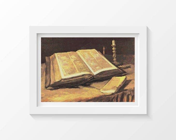 Cross Stitch Pattern PDF, Embroidery Chart, Art Cross Stitch, Still Life with Bible by Vincent van Gogh, Bible Cross Stitch (VGOGH02)