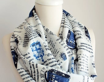Dr Who Tardis Scarf Doctor Who Scarf Infinity Scarf Geek Gift For Women Her Fashion Accessories Fall Fashion Gift Dr Who Fan Gift For Women