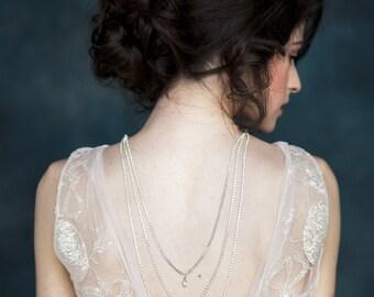 Silver Crystal Back Necklace, Rose Gold Crystal Backlace, Tiered Back Necklace, Gold Back Drop Necklace, V Drop Bridal Necklace, LINDEN