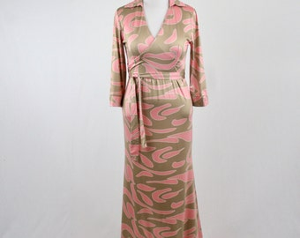 Vintage Faux Wrap Pink and Taupe Maxi Dress