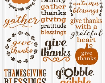 SVG Bundle Special for Thanksgiving! 12 SVG cut files with PNG & jpg formats also.  Limited time half price! pumpkin svg give thanks svg