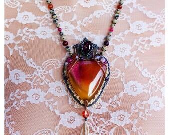Tassel necklace, Pink and yellow, orange and purple, Swarovski Crystal statement jewelry, agata gemstone colorful pendant, multi stone