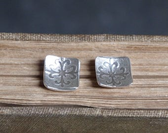 Square stud earrings, silver earrings, silver studs, Argentium silver stud earrings, square silver earrings, handmade by ARC Jewellery UK