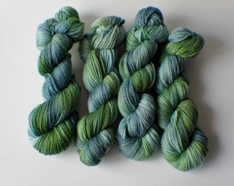 Calypso, Hand Painted Yarn in Shades of Teal, Green