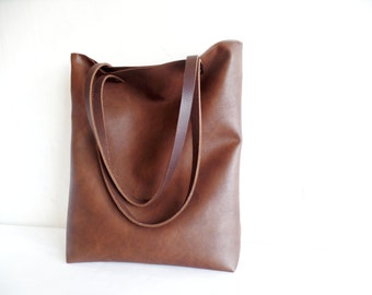 Leather tote bag, Large everyday casual tote bag, Chocolate brown vegan leather tote shoulder bag with real leather handles