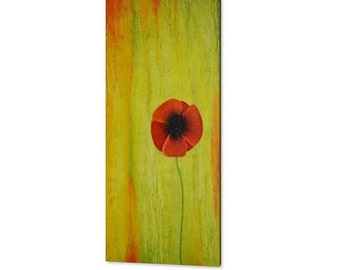 Red poppy painting, yellow  wall art, original art,  wall decor, impasto painting, abstract canvas art, gift for her