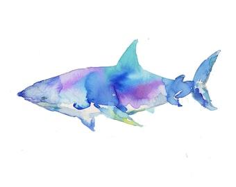 Great White Watercolor Print, Shark Painting, Shark Print Ocean Art, Ocean Animal Art, Nursery Art, Ocean Painting, Watercolor Animals