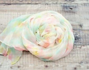 Hand dyed silk scarf | pastel silk scarf | silk chiffon scarf | ice sorbet colors