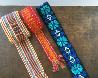 Scandinavian vintage woven belts Woven folk belts Blue floral orange woven belt Scandinavian vintage folk art 70s