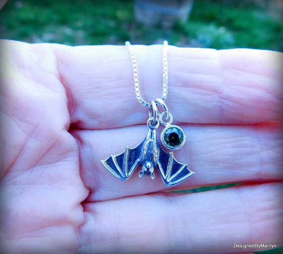 Sterling silver bat necklace, Vampire jewelry, Gothic jewelry, bird necklace, Halloween jewelry, charm necklace, Cubic Zirconia jewelry