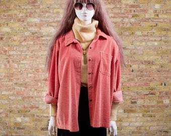 90s corduroy button up / oversized top / minimalist / corduroy shirt / boxy top / salmon pink / wide wale corduroy / corduroy blouse
