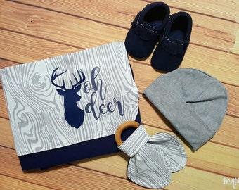 "Baby Boy Swaddling Blanket, ""oh deer"" Blanket Gift, Baby Shower Gift, Teething Ring, Baby Moccasins, Baby Hat"