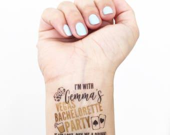 15 Custom Bachelorette Party Temporary Tattoos - Vegas