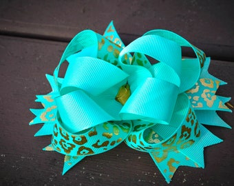 Made to order Girls kids gold and aqua leopard print hair bow boutique stacked hair bow clip clippie cheer bow