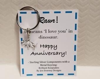 Dinosaur Themed Anniversary Gift Rawr I Love you T Rex Keychain