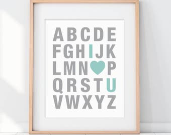 Mint Nursery Decor, Mint Green Art, Alphabet Art, Alphabet Nursery Art, Love Art, I Love You Art, Nursery Decor, Nursery Wall Art, Mint Art