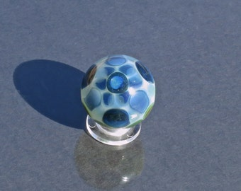 Sparkly Blue and Green Dotstack Surface Design - Handmade Borosilicate Art Glass Marble