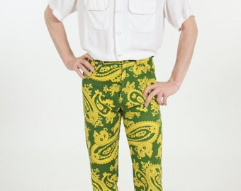 Psychedelic Paisley Slim 60s Mod Men's Pants Dress Pants Heavy Cotton 28 x 28.5 RARE Yellow Olive Green