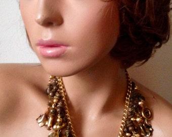 Vintage Gold Tone Metal Charm Fringe Necklace