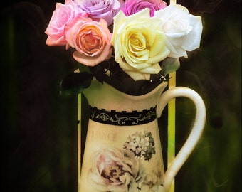 Roses in vase abstract