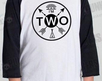 2nd Birthday Hipster Arrow Badge Raglan, 2nd Birthday Baseball Shirt