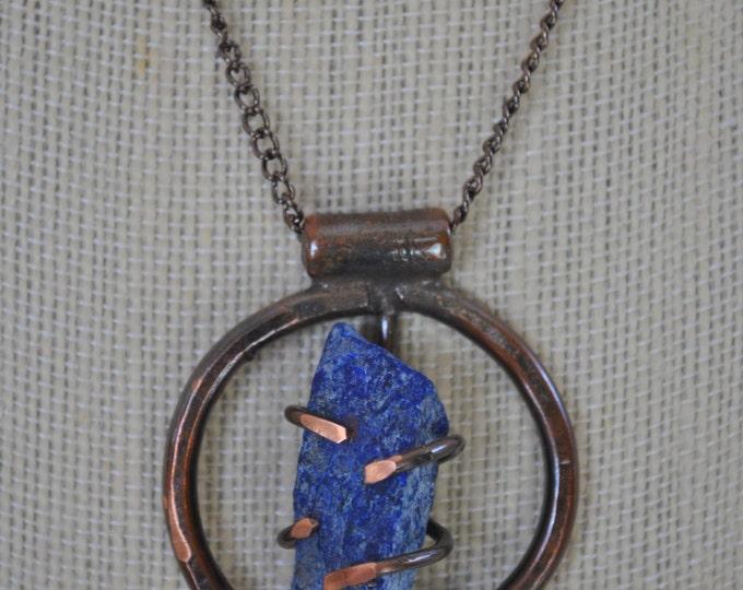 Genuine Lapis Lazuli stone and copper pendant necklace, rustic,  metal necklace