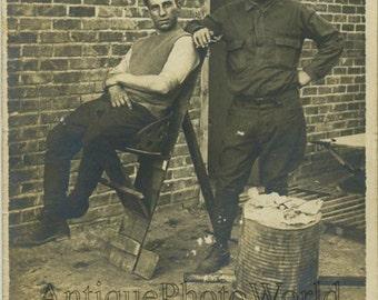 Military barber shaving man antique photo
