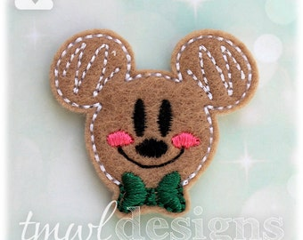 Mr Gingerbread Cookie Mouse Head Feltie Digital Design File - 1.75""
