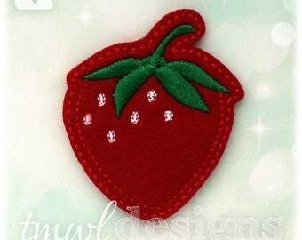 "Strawberry Fruit Feltie Digital Design File - 1.75"""