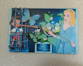 Lovely Large 3D Disney Classic *Pinocchio and Blue Fairy* Handmade Birthday Card by Christine with matching envelope and gift tag