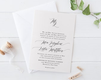 Minimalist Wedding Invitation Set, Printable Handwriting Wedding Suite, Classic Calligraphy Invites, Formal Monogram Cards,Elegant Wedding