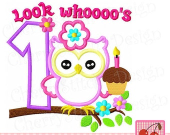 Look Whoooo's 1,Birthday owl with number 1, Birthday Digital embroidery applique -approximate 4x4 5x5 6x6 inch-Machine Embroidery Applique