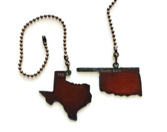 Ceiling fan pull state louisiana mississippi alabama or ceiling fan pull state shape texas or oklahoma charm size made of rusty rustic recycled metal mozeypictures Gallery