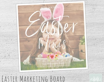 Gift card template easter photography gift certificate easter mini session marketing board photoshop template for photographers photography marketing board easter negle Images