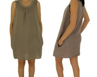 HY400TP36 ladies dress size S tunic dress vintage GR 36 taupe.