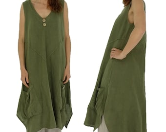 HE600OL42 ladies dress tunic of linen layered look vintage olive Gr. 42