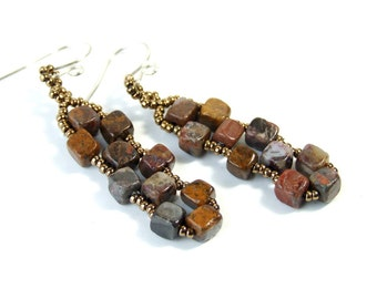 Pietersite Earrings Cube Earrings Brown Stone Earrings Geometric Jewelry Boho Dangle Earrings Earthy Earrings Handmade Woven Earrings Gift