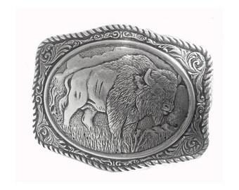 Buffalo Western Belt Buckle - Engraved Western Bison - Fathers Day Gift Ideas  for him - dad - boyfriend