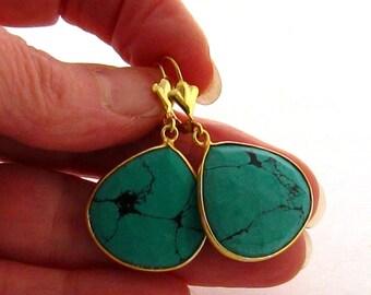 Genuine Turquoise Earrings, 14 Carat Gold Veremeil Bezel Set Green Turquoise Earrings, Turquoise Dangle Earrings, Gemstone Earrings