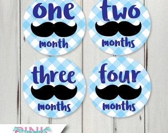 Mustache Little Man Monthly Stickers for Baby Boy - Baby Blue Gingham Milestone Stickers - Shower Gift 12 months Monthly Baby Photo Prop