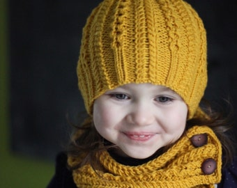Knitting PDF Pattern Ropes n Pearls Hat and Scarf Set (Toddler, Child, Adult sizes)
