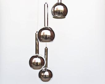 Vintage Chrome  Cascade  Chandelier / Suspension  Light / Set of Five / Space Age Ceiling Lamp  / 70's / Guzzini - Meblo