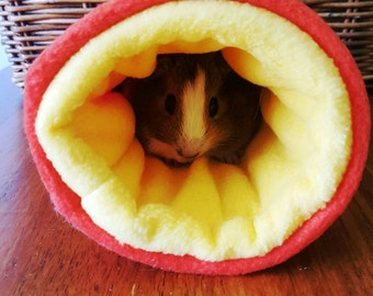 Guinea pig - fleece tunnel - cuddle sack - pet tunnel - snuggle sack - pet bed - reversible fleece - orange and yellow.