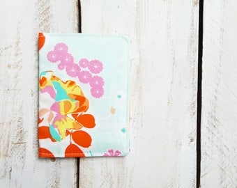 Card Holder Wallet, Credit Card Case, Gift Card or Business Cards, Orchard Blossom in Joyful with Two Fabric Pockets