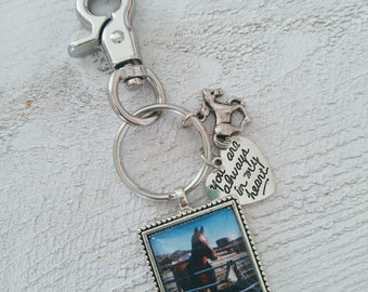 Custom Horse Picture Heavy Duty Square Beaded You Are Always In My Heart Keychain