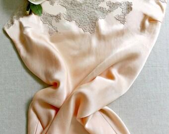 "Vintage lingerie YOLANDE handmade floor length bias cut peach silk satin charmeuse slip, ecru lace trim & shell hem, 36"" bust, Excellent!"