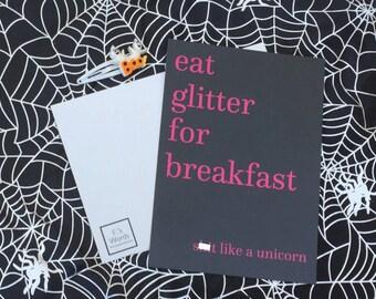 Eat Glitter for Breakfast and Sh*t Like a Unicorn Funny Motivational Postcard Print Halloween Card Art Gift